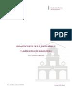 Guia Docente 279191104 - Fundamentos de Matematicas - Curso 1617