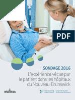L'expérience vécue par le patient dans les hôpitaux du Nouveau Brunswick