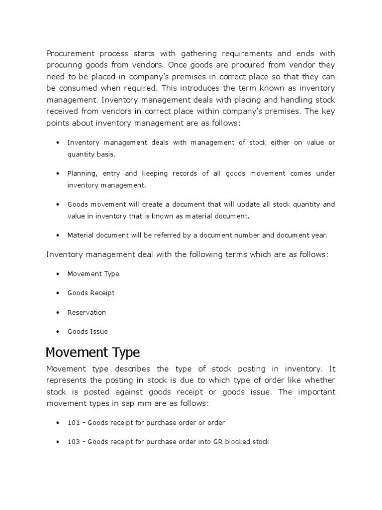 MIGO in SAP | Inventory | Warehouse