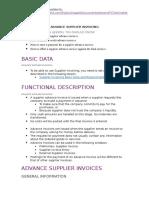 IFS 9 - Advance Supplier Invoicing