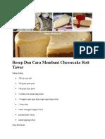 Resep Dan Cara Membuat Cheesecake Roti Tawar