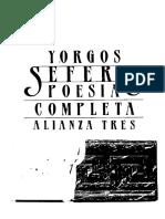 SEFERIS, Y - Poesía completa - Alianza, Madrid, 1986