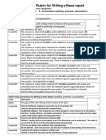 rubrics for writing a news report