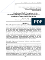 Student and Staff Perceptions of the International Postgraduate Student Experience