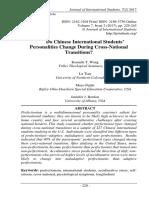 Do Chinese International Students' Personalities Change During Cross-National Transitions? Kenneth T. Wang, Lu Tian, Mayo Fujiki, Ripley-Ohio- Dearborn, Jennifer J. Bordon pp. 229-245