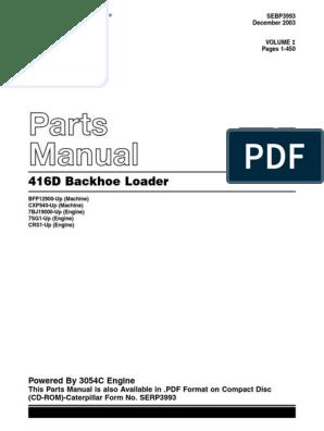 1210 Pages Caterpillar 416D Backhoe Loader SERVICE Parts Manual CD