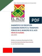 Diagnóstico de Base Percepción ciudadana sobre transporte municipio de El Alto