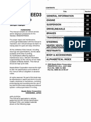 1st Gen Mazda3 Mazdaspeed3 Workshop Manual | Troubleshooting