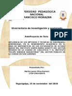 INFLUENCIA DE LOS MÉTODOS Y TÉCNICAS DE ENSEÑANZA-APRENDIZAJE Marlon Oliva