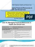 Lesson 1a - Pearson BTEC HND Diploma - Unit 14- Managing Financial Resources in Health and Social Care