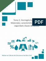 Temario_M1T3_Hormigón Concreto I Materiales, Características, Teoría de Seguridad y Bases de Cálculo