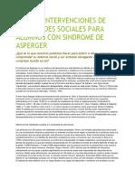Diseñar Intervenciones de Habilidades Sociales Para Alumnos Con Sindrome de Asperger
