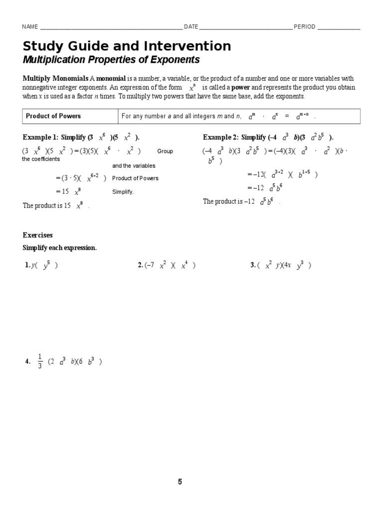 worksheet Multiplication Properties Of Exponents Worksheet 7 1 multiplication properties of exponents worksheet exponentiation
