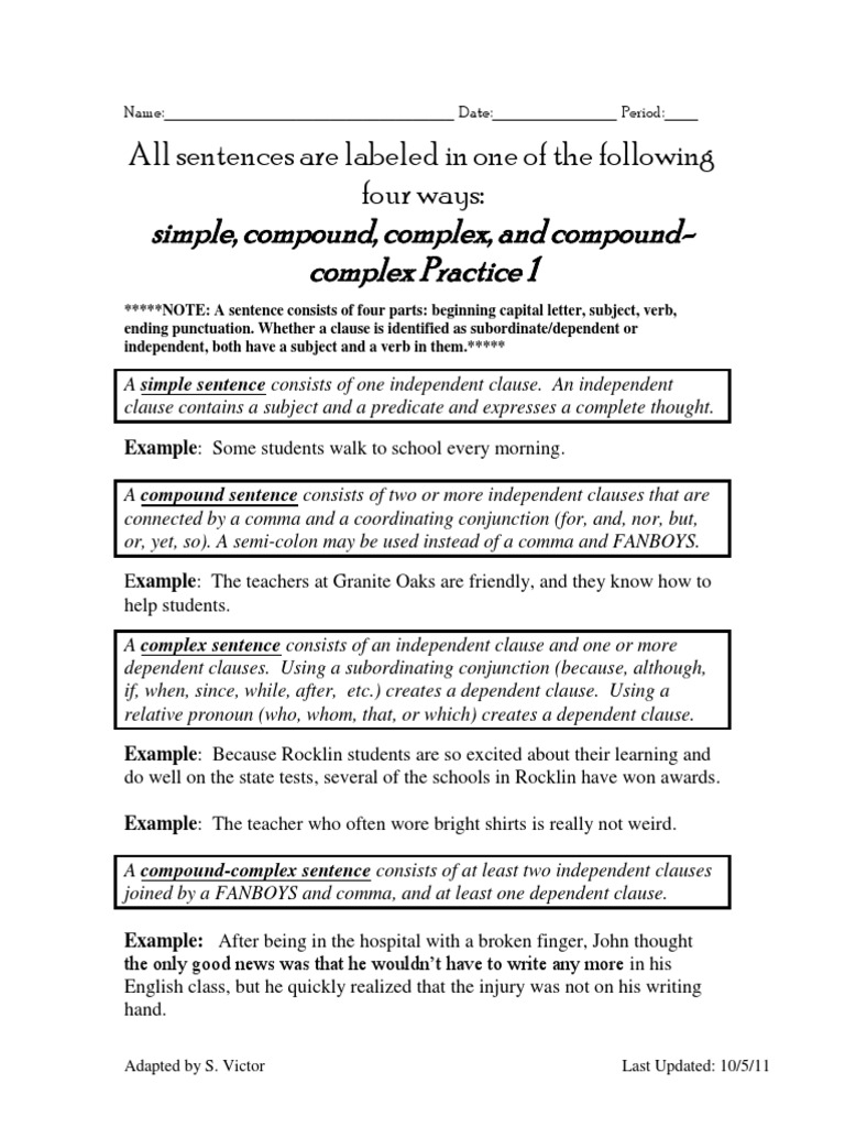 All Grade Worksheets Simple And Compound Sentences Worksheet – Simple and Complex Sentences Worksheet