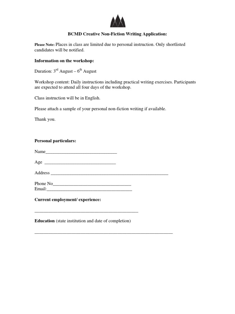 BCMD Creative Non-Fiction Writing Application:: Please Note