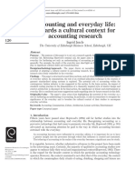Accounting and Everyday Life Towards a Cultural Context for Accounting Reseach