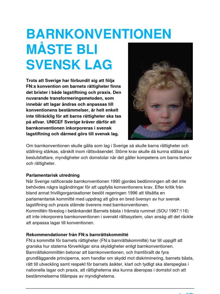 4fef9f61 Barnkonventionen måste bli svensk lag