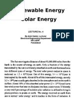 Lectur 4 Solar Energy