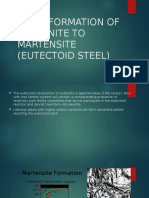 Transformation of Austenite to Martensite (Eutectoid Steel