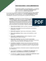 Estudios, Investigaciones y Descubrimientos