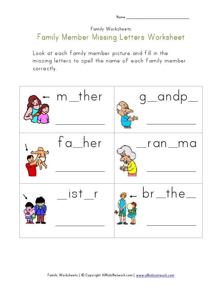 worksheet Family Worksheets family missing letters worksheet pdf