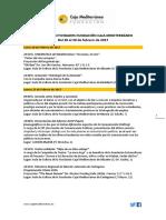 Agenda de Actividades Destacadas. Del 20 al 28 de febrero de 2017. Fundación Caja Mediterráneo