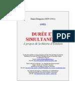 Bergson - Durée et simultanéité - A propos de la théorie d'Einstein