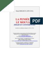 Bergson - Essais et conférences - La pensée et le mouvant