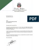 Carta de condolencias del presidente Danilo Medina a Víctor Hugo Hernández Díaz (Tito) por fallecimiento de su madre
