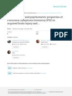 Utilidad Clínica y Propiedades Psicométricas Del Inventario de Síntomas Prefrontales (ISP) en El Daño Cerebral Adquirido y Las Demencias Degenerativas