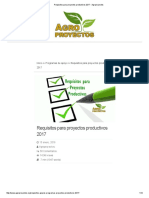 Requisitos Para Proyectos Productivos 2017 - Agroproyectos