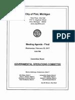 February 22, 2017 Flint City Council Governmental Operations Agenda