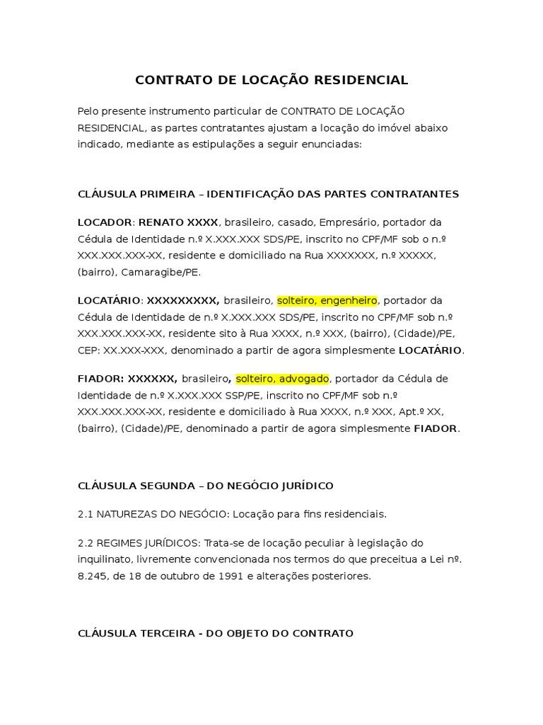 Contrato de Aluguel Residencial - Modelo d04a6e1f67