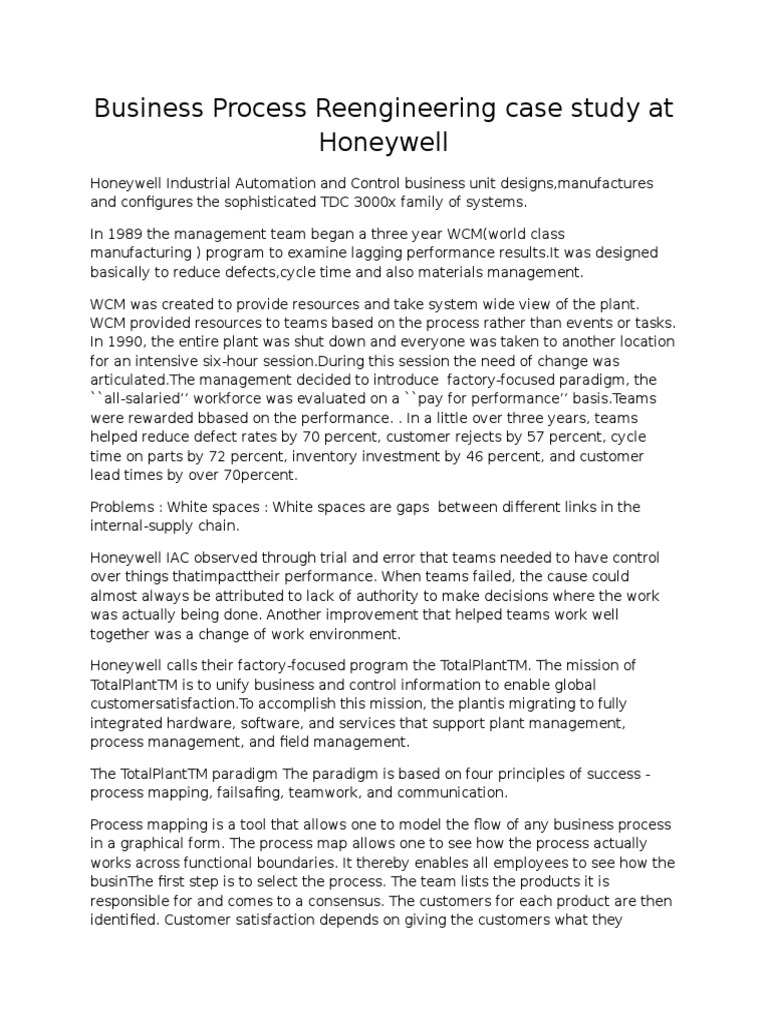 case study on bpr of honeywell