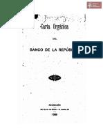 Carta Orgánica del Banco de la República. Asunción. Tip. *El Civíco* año 1908