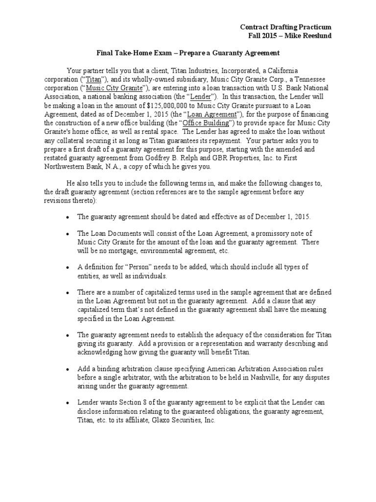 Instructions Fall 2015 Final Takehome Exam Guarantee Loans