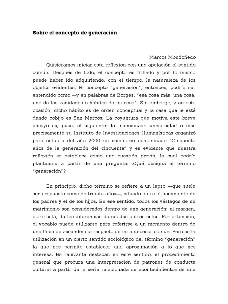 Sobre El Concepto de Generación cargado por Marcos Mondoñedo