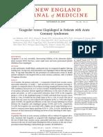 Estudio Plato - Ticagrelor vs Clopidogrel - Sindrome Coronario Agudo