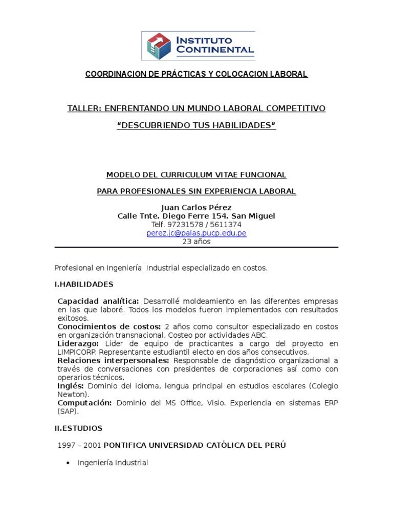 Magnífico Muestra De Currículum De Prácticas Sin Experiencia Regalo ...