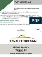 ANPQP Version 2.3 Changes