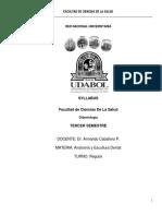 Syllabus Anatomia y Escultura Dentaria