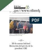 30 de Marzo Iniciará Liberación Del Precio de La Gasolina_ CRE - Oil & Gas Magazine