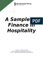 Finance in Hospitality Dissertation Sample