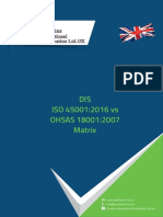 DIS ISO 45001-2016 vs OHSAS 18001-2007 matrix