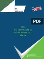 DIS ISO 45001-2016 vs OHSAS 18001-2007 matrix