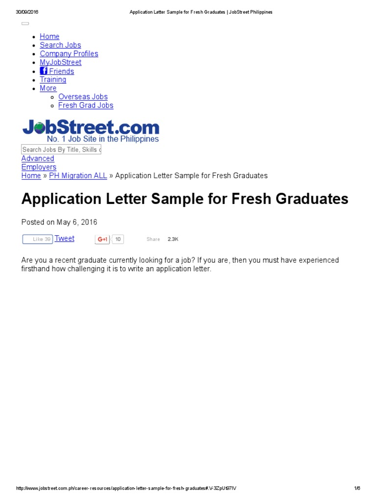 Application letter sample for fresh graduates jobstreet application letter sample for fresh graduates jobstreet philippines human resource management rsum expocarfo