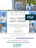 Call Centre Shift Leader