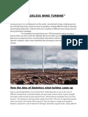 BLADELESS WIND TURBINE docx | Wind Turbine | Wound