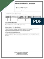 FY Resume Format UPG