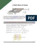 Electric Field in Infinite Sheet